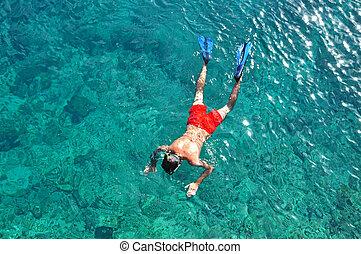 człowiek snorkeling, morze