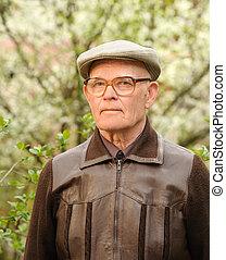 człowiek, starszy, outdoors