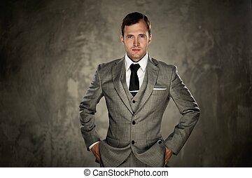 człowiek, szary, garnitur