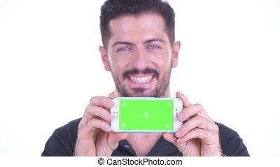 człowiek, szczęśliwy, brodaty, twarz, młody, telefon, pokaz, przystojny
