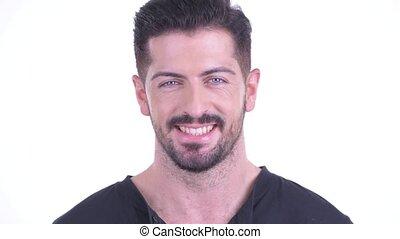 człowiek, szczęśliwy uśmiechnięty, brodaty, twarz, młody, przystojny