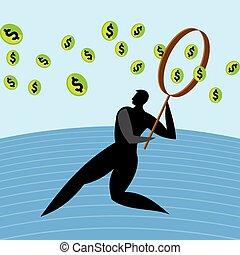 człowiek, szkło., powiększający, dolar