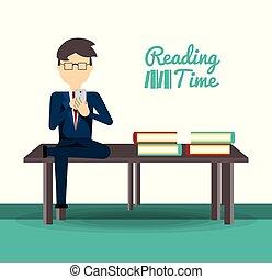 człowiek, telefon, czytanie, handlowa nowość