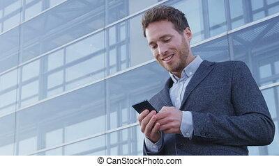 człowiek, telefon, używając, handlowy, sms, app, mądry, ...