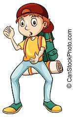 człowiek, transport, niejaki, plecak
