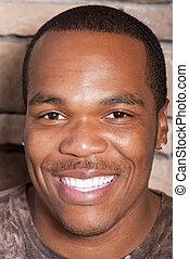 człowiek, uśmiechanie się, afrykańska amerikanka, młody