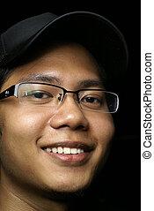 człowiek, uśmiechanie się, asian, młody