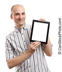 człowiek, uśmiechanie się, komputer, tabliczka, przystojny