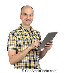 człowiek, używając komputer, tabliczka, przystojny