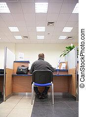 człowiek, w, bank, biuro
