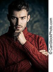 człowiek, w, ciepły, sweter