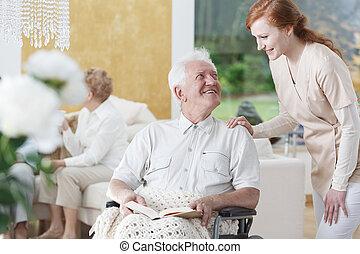człowiek, w, wheelchair