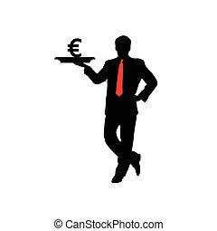 człowiek, wektor, ikona, euro