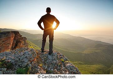 człowiek, wierzchem, góra