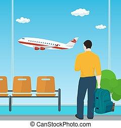 człowiek, wyglądając, przedimek określony przed rzeczownikami, okno, na, niejaki, przelotny, samolot