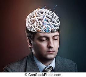 człowiek, z, beletrystyka, w, jego, głowa