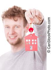 człowiek, z, dom, pendant.