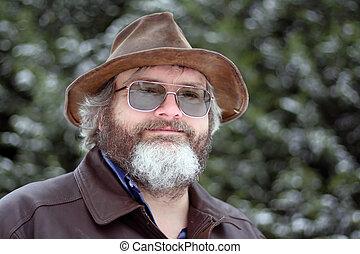 człowiek, z, kapelusz