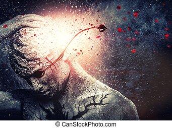 człowiek, z, konceptualny, duchowny, sztuka ciała, i, krwawy, płacz