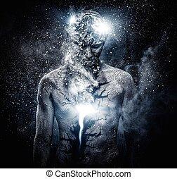 człowiek, z, konceptualny, duchowny, sztuka ciała