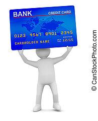 człowiek, z, kredyt, card., odizolowany, 3d, wizerunek