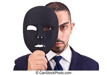 człowiek, z, maska, odizolowany, na białym