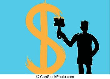 człowiek, z, niejaki, szczotka, pociąga, pieniądze, znak,...