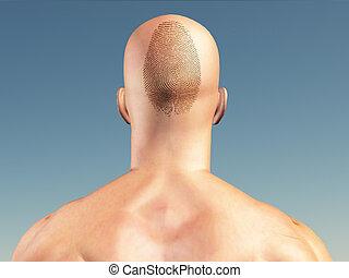 człowiek, z, odcisk palca, na, głowa
