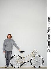 człowiek, z, rower