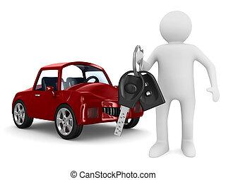 człowiek, z, samochód, keys., odizolowany, 3d, wizerunek