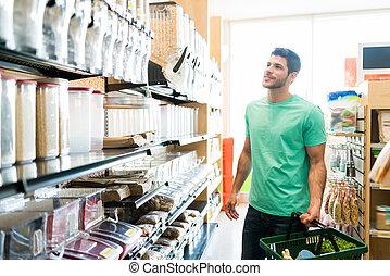 człowiek, zaopatrywać, kupno, wielka ilość, uśmiechanie się, jadło, sklep spożywczy