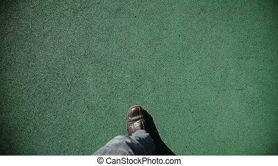 człowiek, zielony, pieszy, struktura