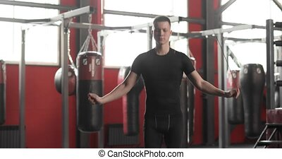 człowiek, zrobienie, profesjonalny, gym., bokser, związać, ...