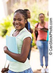 czarna dziewczyna, kolegium, młody, campus
