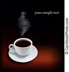 czarna kawa, filiżanka, tło.