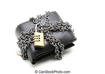 czarna skóra, portfel, z, droga, lok