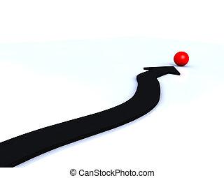 czarna strzała, spoinowanie, na, czerwona piłka