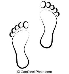 czarnoskóry, ślad stopy
