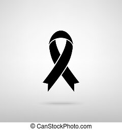 czarnoskóry, świadomość, wstążka, znak