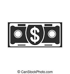 czarnoskóry, banknot, ikona