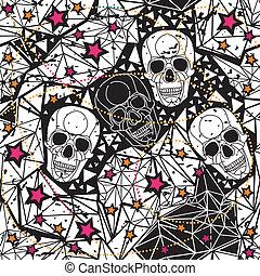 czarnoskóry, biały, czaszki, seamless, tło