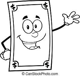 czarnoskóry, biały, dolar, uśmiechanie się