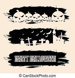 czarnoskóry, chorągwie, halloween, grunge