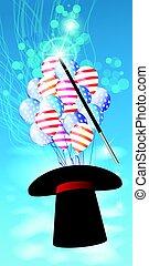 czarnoskóry, czarodziej, magia, kapelusz, illusionist.