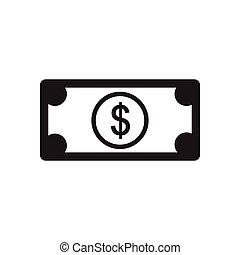 czarnoskóry, dolar, ikona, biały, płaski