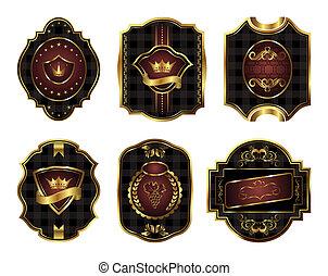 czarnoskóry, etykiety, komplet, gold-framed