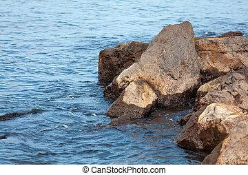 czarnoskóry, fale, morze, poti, kamienie, przybrzeżny