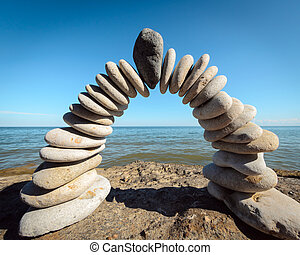 czarnoskóry, kamień, w, przedimek określony przed rzeczownikami, środek, od, łuk