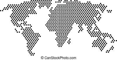 czarnoskóry, kropkuje, -, światowa mapa