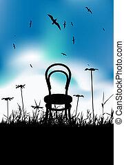 czarnoskóry, krzesło, sylwetka, łąka, lato